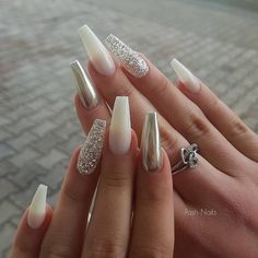 86 beautiful nail designs for 2019 - Page 75 of 86 - lovenailstyle Posh Nails, Polygel Nails, Fun Nails, Coffin Nails, Stiletto Nails, Pretty Nails, Glitter Nails, White Acrylic Nails, Best Acrylic Nails