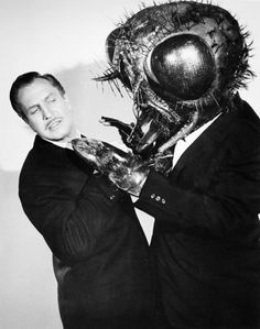 "Actor Vincent Price in a publicity photo for the 1958 original version of ""The Fly"". Click the pic to watch the movie in its entirety"