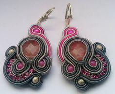 Soutache Earrings Gray - Pink