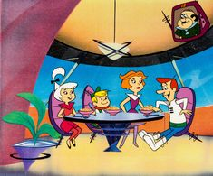 The Jetsons Cereal Commercial Production Cel (Hanna-Barbera, Classic Cartoon Characters, Classic Cartoons, Cartoon Wallpaper, Os Jetsons, Hanna Barbera, Saturday Morning Cartoons, Googie, Dope Art, Disney Cartoons