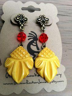 Yellow Pineapple Carved Bakelite Earrings by offyourrockerjewelry