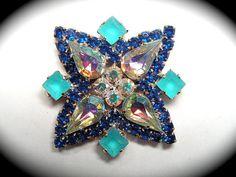 Vintage Button ~ Lg Hand Made Glitz, Claw Set Glass Rhinestone in Metal