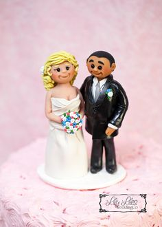 Portrait Custom Wedding Cake Topper polymer clay figures Bride and Groom cake topper clay characters birthday handmade