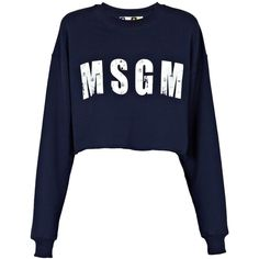 MSGM Cropped Sweatshirt ($115) ❤ liked on Polyvore featuring tops, hoodies, sweatshirts, sweaters, msgm, long sleeve crop top, long sleeve sweatshirt, cotton crop top and blue sweatshirt