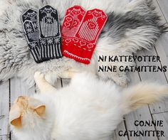 "Ravelry: Cat Mittens ""Cats and Stripes"" pattern by Connie H Design"