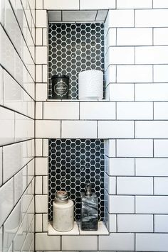 This is pretty much exactly what I want for the master bathroom, with large black octagon tiles for the floor.