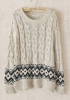 Beige Geometric Print Long Sleeve Synthetic Fiber Sweater
