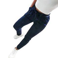 Pantalons Femme Ete Pantalons Femme Taille Haute Pantalons Femme Chic Sexy Taille  Haute Rayure Mode Large e5b8bccaa77