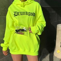 Women Loose Letter Print Sweatshirt Streetwear Hooded Fluorescent Long Hoodie Spring Autumn Pullover Hoodies Fluorescent S Neon Outfits, Lazy Outfits, Cute Comfy Outfits, Swag Outfits, Mode Outfits, Trendy Outfits, Chic Outfits, Girls Fashion Clothes, Teen Fashion Outfits