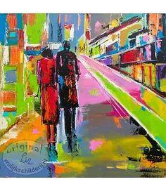 """Vrolijk Schilderij 90 x 90 cm Schilderij """" City II """""""