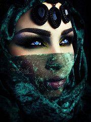 Mysterious (eset is) Tags: blue green beautiful beauty dark photography gold bahrain eyes women veil uae hijab culture makeup jewelry arab kuwait saudiarabia emirate qatar arabicmakeup