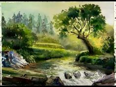Art Painting Workshop - Watercolor painting : Sunshine on the Forest Stream Material used : Waterford a3 cold press 300g/m2 Mission Gold Class watercolor
