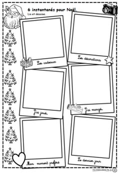 Instantanés pour Noël Core French, Theme Noel, Teaching French, Drawing Techniques, Cycle 2, Stuff To Do, Calendar, Clip Art, Holiday