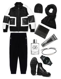 """""""Menswear"""" by thestyleartisan ❤ liked on Polyvore featuring Neil Barrett, Giorgio Armani, Movado, G-Star Raw, Diesel, Monica Vinader, Clinique and scarf"""
