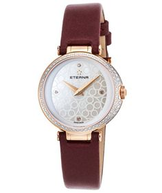 Eterna 256161611369 Womens Grace Diamond Burgundy Satin White Mop Dial RoseTone Ss Watch -- Click image to review more details.