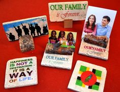 An assortment of handmade gifts. Happy to customize a tile.