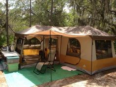 Ozark Trail 16' x 16' Cabin Dome Tent, Sleeps 12 - Walmart.com.  wow. That outdoor rug makes a big difference.