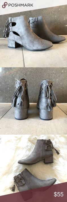 "Grey Fringe Tassel Ankle Booties Back Lace Up Stacked Block Heel Ankle Booties with Tassel detail. Nude Suede. Heel measures approximately 1 inches"" Side Zipper Closure True To size. Boutique Shoes Ankle Boots & Booties"