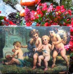 Vintage Lacquer Cherub Angel Art