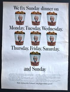 1967 Kentucky Fried Chicken Vintage Print Ad - Colonel Sanders - Every Day of Week
