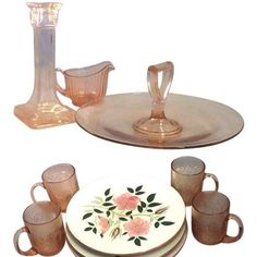 Vintage pink glass. Vintage Wild Rose dishes by Stangl.