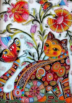 🌻 For more great pins go to Mosaic Art, Mosaic Glass, Glass Art, Glass Painting Designs, Paint Designs, Pintura Hippie, Stained Glass Paint, Cat Quilt, Cat Drawing
