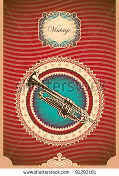 Vintage poster with trumpet. Vector illustration. by Radoman Durkovic, via Shutterstock