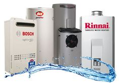 Variety of hot water systems with a Photoshop water  streak.