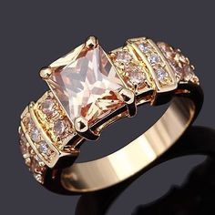 10K Yellow Gold Filled Champagne Topaz Ring with Accents - Size 7