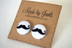 Fabric Button Earrings - Sweet Stache - Buy 3, get the 4th FREE by jewlswashere on Etsy