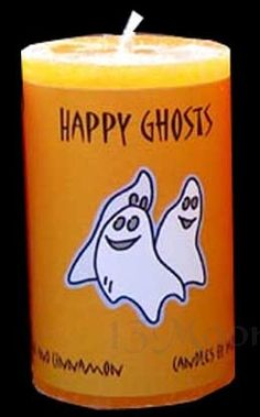 Halloween Happy Ghosts Candle 2x3