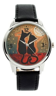 Black Cats Watching the Sunset Wristwatch Black / by ZIZWatches,
