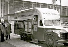 The Bookmobile made its first outing in March 1953 and was active into the 1980s.     Photo Credit: South Bend's Center for History's photograph collection.