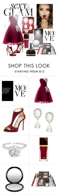 """#Go Glam"" by willfongdanielle ❤ liked on Polyvore featuring beauty, Jimmy Choo, Dolce&Gabbana, Tom Ford, MAC Cosmetics and Borghese"