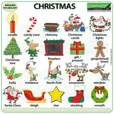 Christmas vocabulary in English - This is non-religious vocabulary for the ESL classroom. Christmas Quiz, Christmas Writing, English Christmas, Christmas Words, Christmas Worksheets, Christmas Activities, English Lessons, Learn English, English English