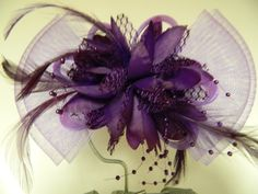 Vintage plum purple tulle bow flower feathers by aprilsunrises Tulle Bows, Feather Hair Clips, Flower Center, Feathered Hairstyles, Plum Purple, Color Change, Feathers, Vintage Inspired, My Etsy Shop