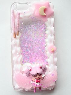♡Chibiusa Whip Framed inspired Phone Case For iPhone 6 ♡Very light pink tone whip with white ♡Phone case is a glitter liquid ♡Decoded with hearts, stars and pocky ♡Will ship the Next Day