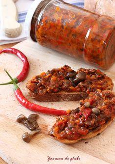 Zacusca de ghebe :: Bunatati de la Oana Romanian Food, Artisan Food, Tasty, Yummy Food, Canning Recipes, Delish, Vegetarian Recipes, Food And Drink, Appetizers