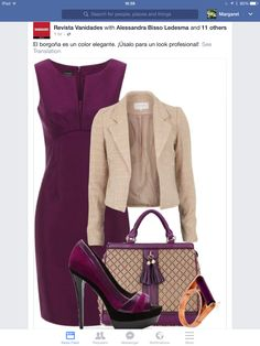I love the color and structure of this dress. I like the structure of jacket. The shoes are bit much for me; I'd probably pair the dress with a nude patent leather pump