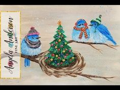 Christmas Bluebirds in Winter Hats Acrylic Painting Tutorial LIVE - YouTube