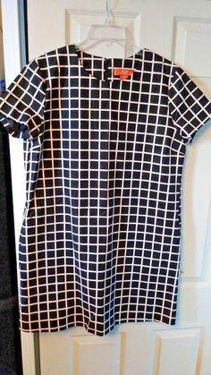 e4d4d35f91b7 Details about Womens Black and White Check Plaid Lined Sheath Dress by Joe  Fresh Size XL