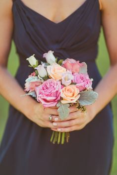 A gorgeous small hand-wrapped bouquet for the bridesmaids out of garden roses, lambs ear. vintage bouquet, pink bridesmaids bouquet