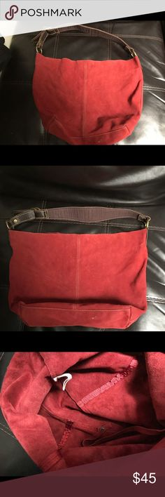 LUCKY BRAND Red Large Suede Shoulder Slouch Tote This Lucky Brand Tote is nice for a casual purse. The  suede is in great condition; no holes, or rips. Nice hardware and still in tact. Price is reasonable. Lucky Brand Bags Totes