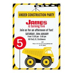 Boys Construction Truck Birthday Party Invitation