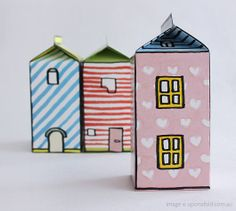 Another pinner said.Make houses from used juice cartons. Glue scrapbooking paper onto the sides then draw on windows and doors. You can even cut the door so that it opens & closes. Cute Gift Boxes, Cute Gifts, Diy For Kids, Crafts For Kids, Recycled Crafts Kids, Paper Crafts, Diy Crafts, Activities For Kids, Gift Wrapping