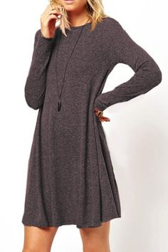 Long Sleeve Solid Color A-Line Dress LIGHT GRAY: Long Sleeve Dresses | ZAFUL