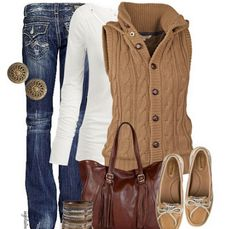 I want the vest sweater! LOLO Moda: Fashionable women outfits 2013