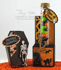 Inspired by Stamping, Rose Miller, A Spooky Halloween stamp set, Halloween Tags stamp set, Fancy Labels 2 Die, Holiday Washi Tape stamp set, A Spooky Halloween Digital Printables & Paper, Halloween Paper Coffin, Halloween Candy Holder