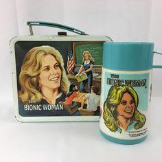 Vintage Aladdin The Bionic Woman Lunch Box Metal and Plastic Thermos 1978 #UniversalCityStudios