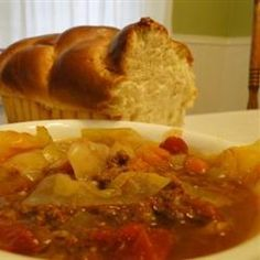 Sweet Russian Cabbage Soup - This is a simple recipe for a wonderful rich cabbage soup.  Easy, yummy and freezes well.